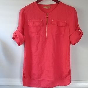 Ellen tracy boho coral blouse 100%linen.